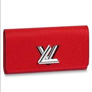 Louis Vuitton Red Twist Wallet Epi Leather